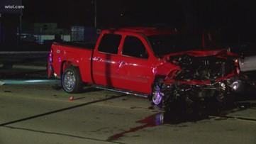Road blocked after two-car injury crash
