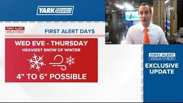 NEW DATA: Steadier Snow Arrives Wednesday evening. Several Inches Of Accumulation Expected.