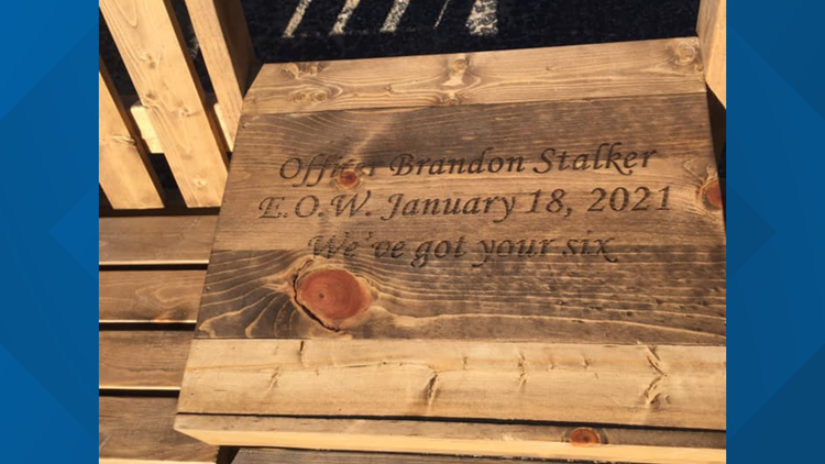 Local woodworker makes memorial bench for fallen Toledo policer officer Brandon Stalker