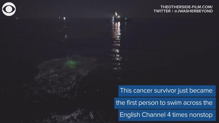 Cancer survivor sets swimming record