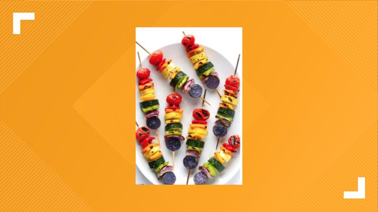 Grilled Rainbow veggie skewers