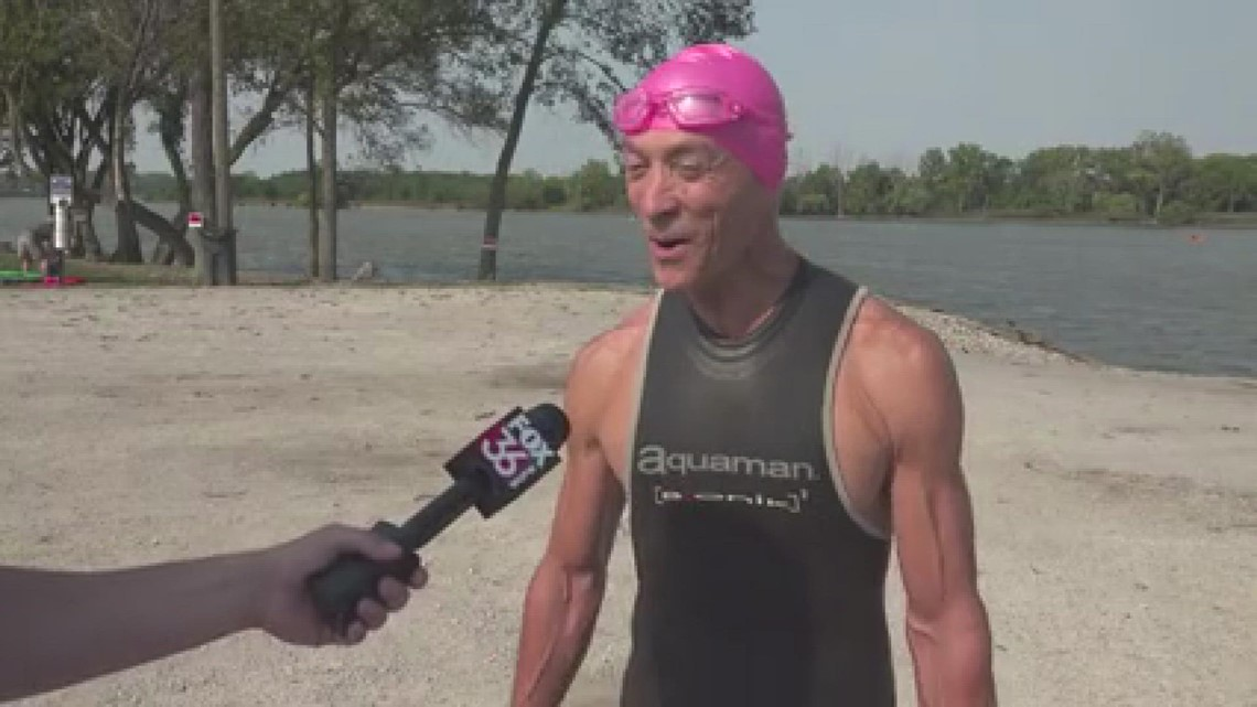 65-year old yoga instructor swims five miles of the Maumee River for charity