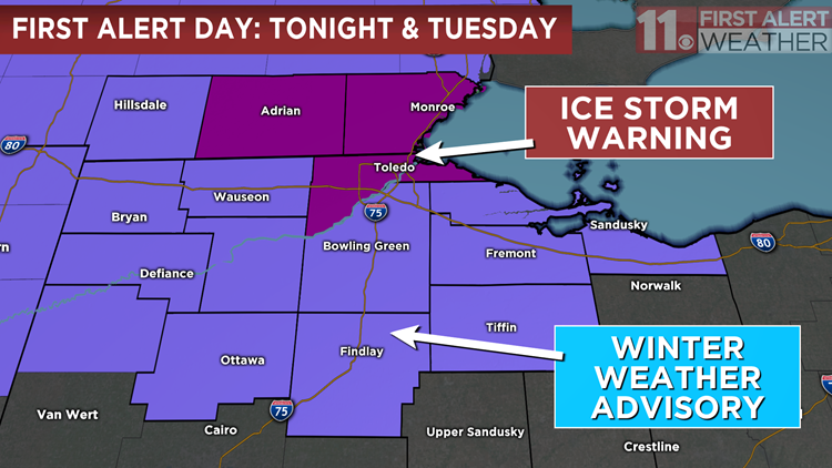 First Alert Tonight & Tuesday: Icy Conditions Take Over