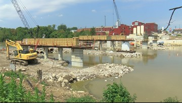 Support beams moved into place on Clinton Street bridge in Defiance