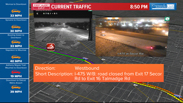 UPDATE: I-475 westbound between Secor Road and Talmadge Road has reopened