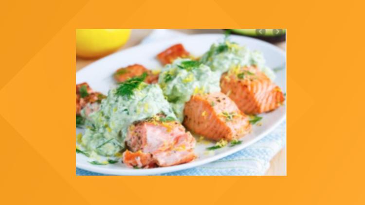 Grilled Za'atar salmon with cool yogurt sauce