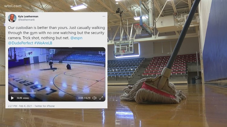 Liberty-Benton custodian goes viral after half-court, backwards shot hits nothing but net on Twitter
