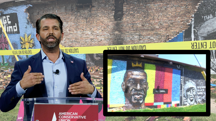 Donald Trump Jr. muses on social media whether lightning strike on Toledo's George Floyd mural was act of God