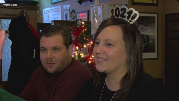 Customers celebrate New Year's Eve at the Blarney