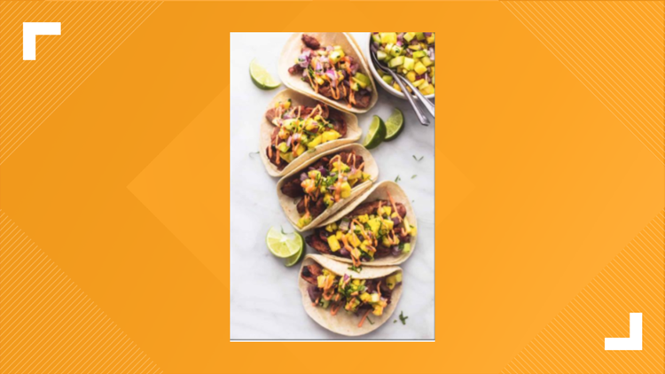 BBQ Pork Loin tacos with grilled pineapple salsa