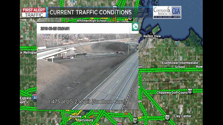 Overturned semi shuts down 2 lanes of WB I-475 Monday