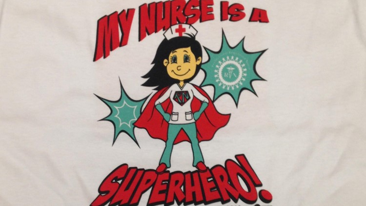 Mercy nurses strike shirts say My Nurse is a Superhero