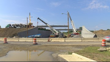 Support beams installed at US 68 bridge over Lima Avenue in Findlay
