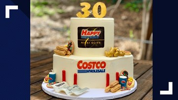 Astounding Bakers Amazing Costco Birthday Cake Includes Samples Churros Personalised Birthday Cards Epsylily Jamesorg
