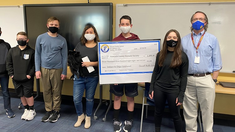 Donnell Middle School students donate nearly $3,400 to humane society
