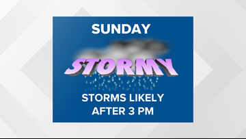 First Alert Forecast: Heavy downpours, gusty winds will follow Sunday morning sunshine