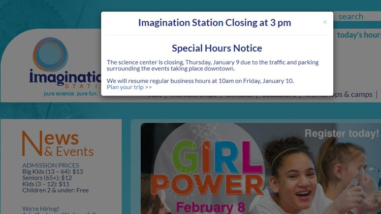 Imagination Station closing early