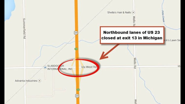 Accident Shuts Down Us 23 North Near Dundee Wtolcom - Us-23-map
