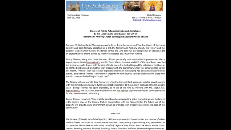 Land Bank OKs gift of St  Anthony Church, land   wtol com