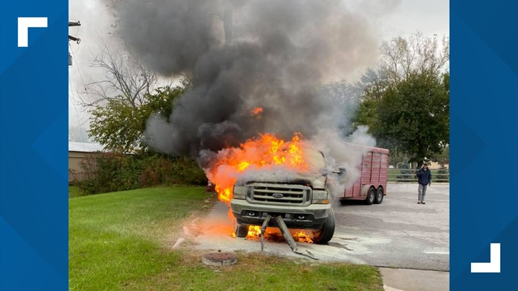 Horses OK after truck hauling them catches fire in Holland