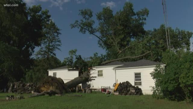 Some cleaning up after storm, downed trees