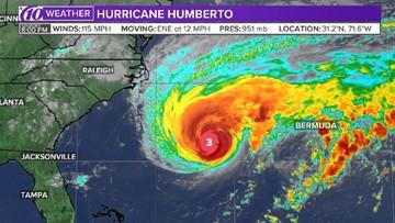 Hurricane Humberto strengthens to a major, Category 3 storm