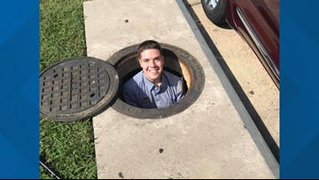 Chick-fil-A employee retrieves woman's phone from storm drain