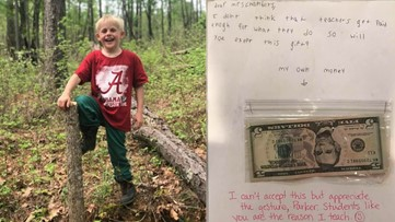 3rd grader gives teacher his birthday money because he doesn't think she's paid enough