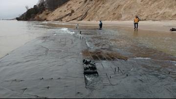 Storm surge on Lake Michigan uncovers shipwreck off Muskegon, MI coast